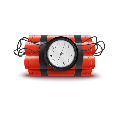 Explosive red dynamite sticks with clock and wires. Explosion themed isolated vector illustration on white background with timer until bomb detonation, dangerous weapon ready to explode. Stock Illustratie