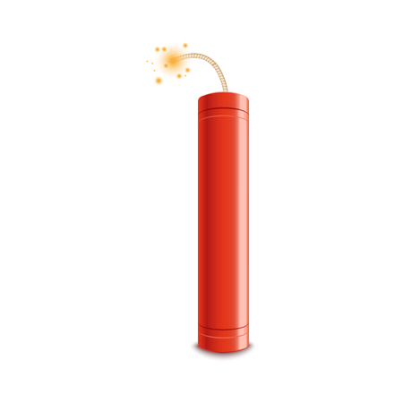 Realistic detailed 3d red detonate dynamite bomb stick with a fire flash vector illustration isolated on a white background. Dangerous TNT weapon before explosion moment. Illustration