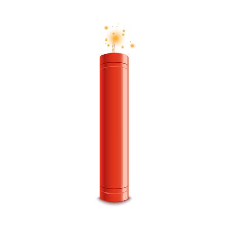 Detona la bomba de dinamita con una ilustración de vector de flash de fuego aislada sobre fondo blanco. Arma peligrosa de TNT antes del icono realista del momento de la explosión. Ilustración de vector