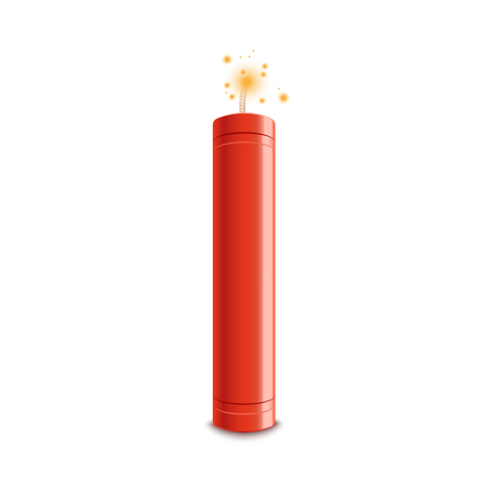 Detonate dynamite bomb stick with a fire flash vector illustration isolated on a white background. Dangerous TNT weapon before explosion moment realistic icon.
