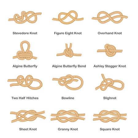 Set of various types of nautical loops and knots for rope. Set of marine knot, sea rope and node. Isolated vector illustration on white background.