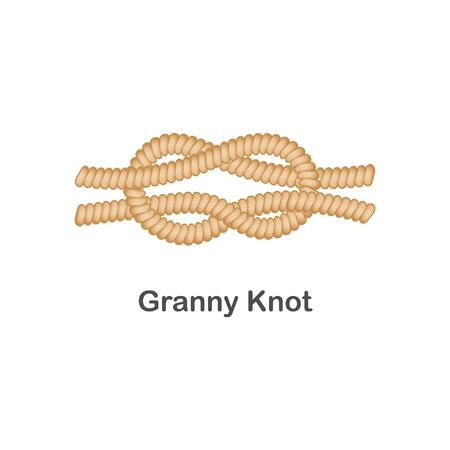 Type de nœud de mamie de nœud nautique ou marin pour corde avec une boucle, illustration vectorielle isolée sur fond blanc.
