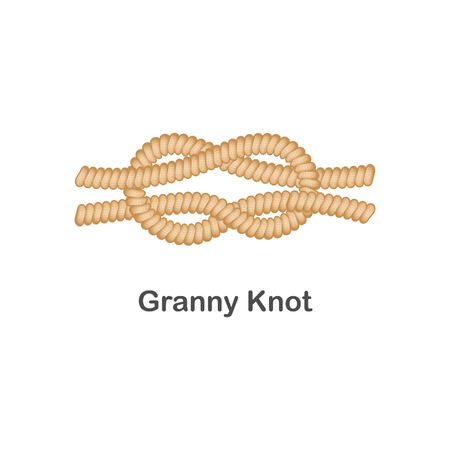 Type of nautical or marine node granny knot for rope with a loop, isolated vector sea illustration on white background.