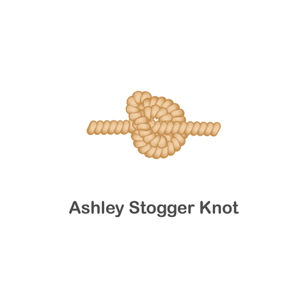 Type of nautical or marine node ashley stogger knot for rope with a loop. Type of noose nautical knot, isolated vector marine illustration on white background. Rope with loop for web design. Illusztráció