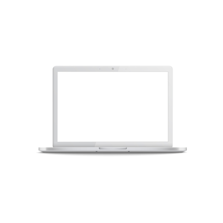 Realistic white laptop with empty screen, 3d computer mockup from front view with blank monitor, hovering with shadow underneath. Vector illustration isolated on white background