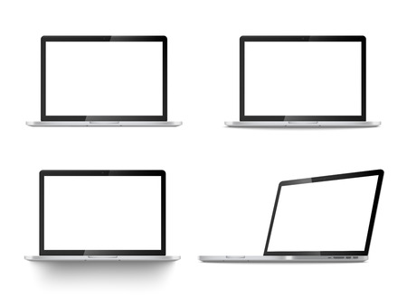 Realistic set of four laptops front view and angled position vector illustration isolated on white background. Computer notebooks with empty screen 3d mockup or template.