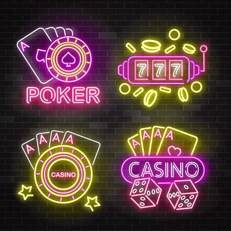 Set of casino neon illuminated signboards, vector illustration isolated on black brick wall background. Bright luminous signs, night light banners or logos for casino and poker game