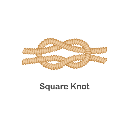 Type of nautical or marine node square knot for rope with a loop, isolated vector realistic sea illustration on white background. Illustration