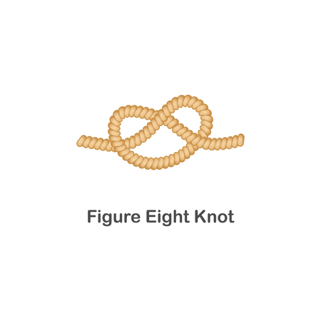 Type of nautical or marine node figure eight knot for rope with a loop. Type of noose nautical knot, isolated vector marine illustration on white background. Rope with loop for web design. Ilustração