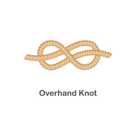 Type of nautical or marine node overhand knot for rope with a loop, isolated vector realistic sea illustration on white background.