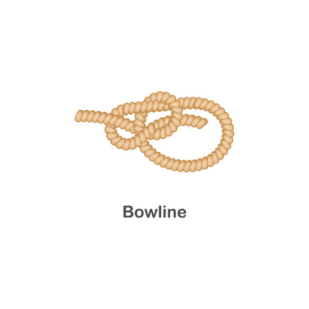 Type of nautical or marine node bowline knot for rope with a loop. Rope with loop for web design. Type of noose nautical knot, isolated vector marine illustration on white background.