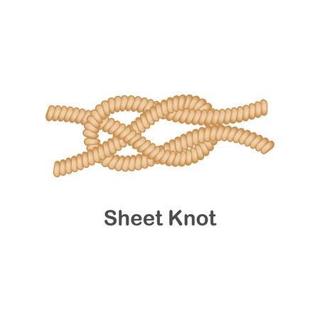 Type of nautical or marine node sheet knot for rope with a loop. Type of noose nautical knot for sailor, isolated vector marine illustration on white background. Rope with loop for web design. Illustration