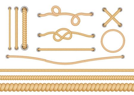 Zestaw różnego rodzaju pętli żeglarskich i węzłów do liny. Różne rodzaje lin z węzłami i pętlami. Zestaw na białym tle realistyczne ilustracje wektorowe. Ilustracje wektorowe
