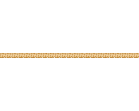 Straight thick cordage marine rope or twisted cord elongated in line vector illustration isolated on white background. Nautical cable element for borders and frames.