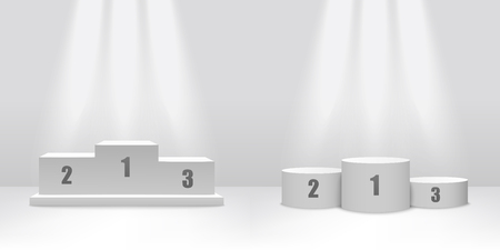White podium stage design with platforms for competition winners, empty pedestal template for first to third place numbers in cube and cylinder shape to present victory award - vector illustration
