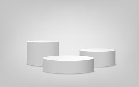Weißes Zylinderpodestset mit einer Stufe, Plattformbühne des Wettbewerbssiegers. Leeres 3D-Modelldesign des minimalistischen Wettbewerbsmeistersockels, Vektorillustration.