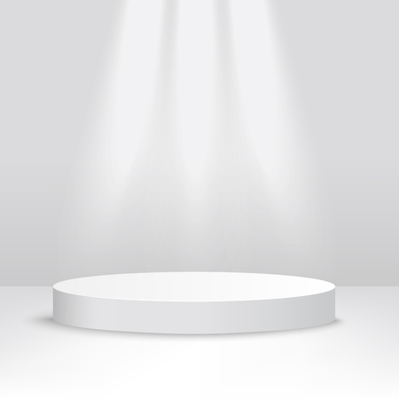 White stage platform lit from above, competition podium for award ceremony or product display, 3d realistic style background of cylinder stage design, vector illustration