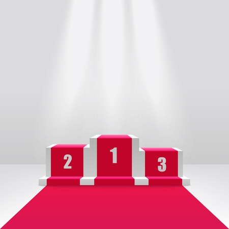 Competition winners podium or pedestal for awards ceremony 3d vector illustration isolated on white background. Empty victory stage illuminated with spotlights.