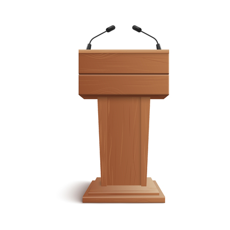 Realistic icon of blank brown wooden stand, podium or rostrum with microphones for presentations at conferences, lectures or debates. Isolated 3D vector illustration. Foto de archivo - 122416899