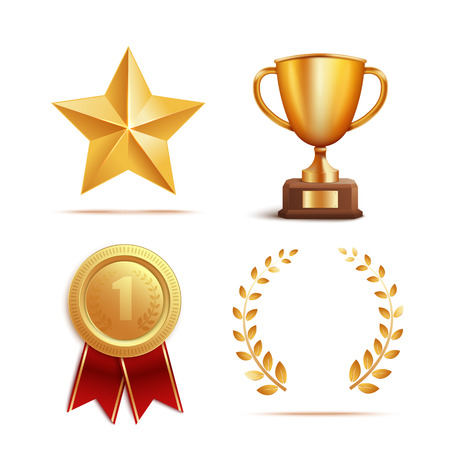 Icon and symbol award, prize and trophy set. Sign of victory, succes and winner. Set of gold award and reward, realistic 3d vector illustration. Illustration