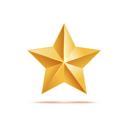 Golden star icon, award metallic symbol and sign. Realistic 3d medal in the shape of a star, isolated vector illustration on white backgound.