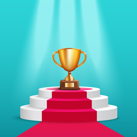Golden trophy cup stand on round award pedestal with red carpet realistic style, vector illustration on blue background. Reward prize on ceremony podium under spotlights