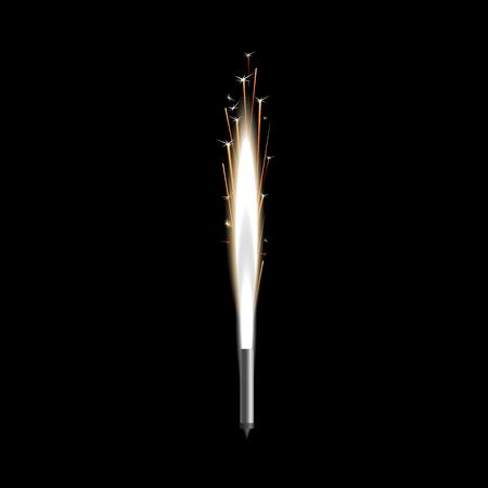 Fontana di fuochi d'artificio di scintille saluto o illustrazione vettoriale di candela pirotecnica isolato su priorità bassa nera. Fuoco della candela del Bengala che scintilla l'elemento realistico del partito o dell'evento 3d. Vettoriali