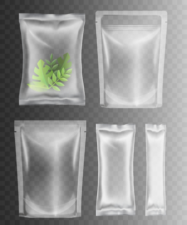 Transparent plastic packaging for food, spices, snacks, candy, other products. Different size clear bag mockups for branding and product merchandise - isolated vector illustration.