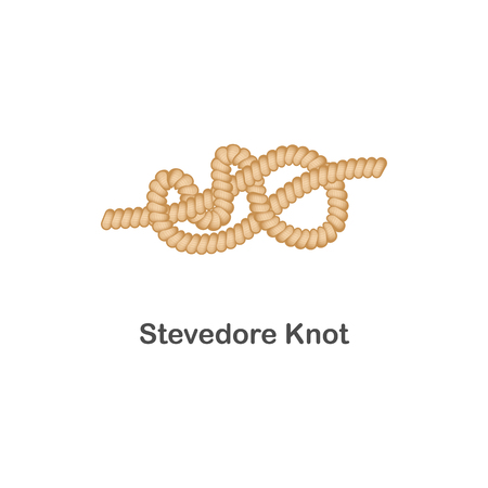 Type of nautical or marine node stevedore knot for rope with a loop, isolated vector realistic sea illustration on white background.