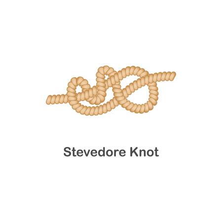 Tipo de nudo de estibador de nodo náutico o marino para cuerda con un lazo, ilustración de mar realista vector aislado sobre fondo blanco. Ilustración de vector
