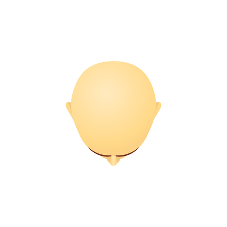 Top view of male bald head cartoon style, vector illustration isolated on white background. Mens hairless scalp, last stage of hair loss or alopecia, bald headed clipping