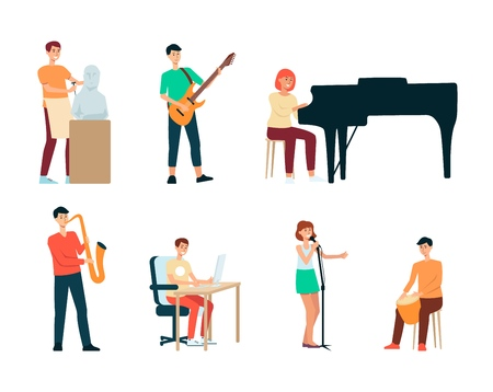 A set of artists, people of creative professions and hobbies. Men and women, sculptors and musicians, singers and designers at work. Set of isolated vector illustrations of artists in flat style. Illustration