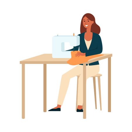 A dark brown haired woman sews, a dressmaker, seamstress, a clothes designer at work. Woman artist in a suit and sewing machine with a creative profession and hobby. Flat vector illustration.