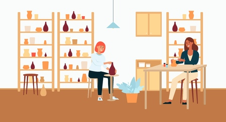 Women, brown haired and red, light and dark skinned work with ceramics, pottery and painting of dishes. Women potters and ceramists, creative profession, hobby and workplace, vector illustration.