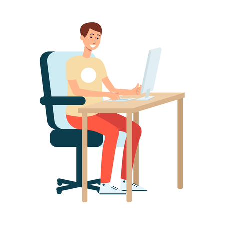 A young man brown haired artist and designer sits at a computer and draws on a graphic tablet. Male painter and designer at work, creative profession and hobby, isolated vector flat illustration. Векторная Иллюстрация
