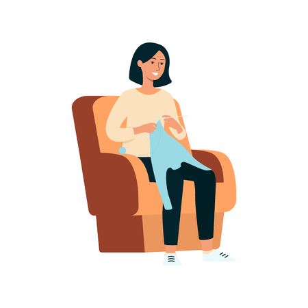 A young brunette woman sits on an armchair, smiles and knits a wool sweater with knitting needles. Woman artist and knitter at work, creative profession and hobby, isolated vector flat illustration.