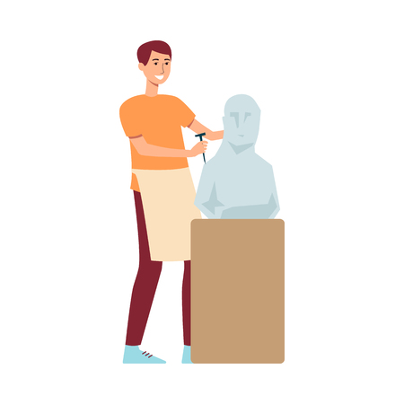 A young man brown haired sculptor in an apron creates a sculpture made of stone or plaster on a pedestal, a creative profession and hobby, isolated vector flat illustration.