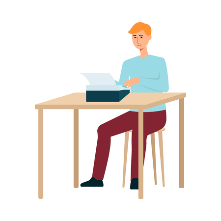 A red haired man writer in pants and a sweater is typing on a typewriter at the table. Creative profession and hobby, isolated vector flat illustration. Illustration
