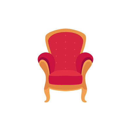 Empty classic armchair cartoon style, vector illustration isolated on white background. Red royal throne with soft upholstery and golden decorative elements Illustration