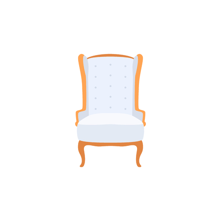 Empty classic armchair cartoon style, vector illustration isolated on white background. White royal throne with soft upholstery and golden decorative elements