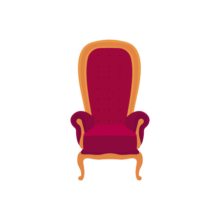 Empty classic armchair cartoon style, vector illustration isolated on white background. Purple royal high back throne with soft upholstery and golden decorative elements