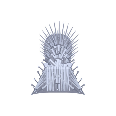 Empty iron throne cartoon style, vector illustration isolated on white background. Fantasy chair made of antique swords or metal blades, medieval chair built of weapon