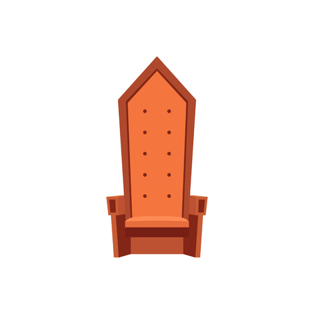 Empty royal throne cartoon style, vector illustration isolated on white background. Medieval high back armchair, fantasy or fairytale object of furniture