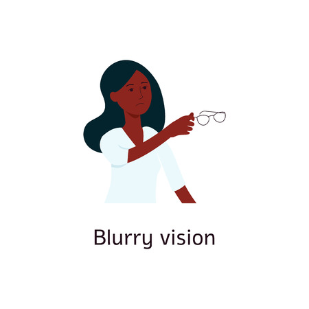 Woman with blurred vision holding glasses cartoon style, vector illustration isolated on white background. Eyesight problems as diabetic disease symptom, eyes illness