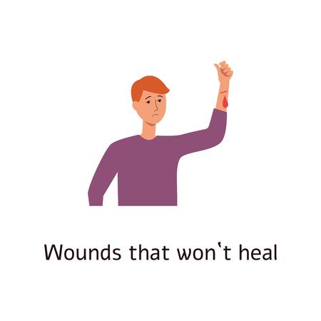 Człowiek z krwawiącą raną na ramieniu stylu cartoon, wektor ilustracja na białym tle. Niegojące się rany i odkleszcze jako objaw choroby cukrzycowej, mężczyzna z kroplą krwi na dłoni Ilustracje wektorowe