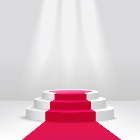 Podio rotondo o piedistallo con illustrazione di vettore di scena 3d riflettori isolato su priorità bassa bianca. Palco illuminato cerimonia vuoto coperto di tappeto rosso.
