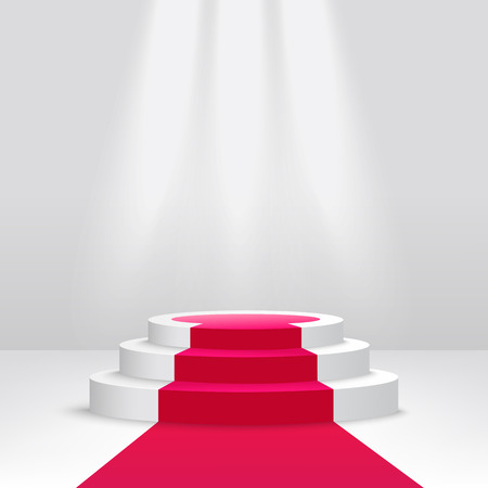 Round podium or pedestal with spotlight scene 3d vector illustration isolated on white background. Empty ceremony illuminated stage covered with red carpet.