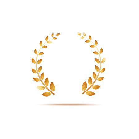 Feuilles de venox de laurier d'or, récompense et insigne du gagnant. Illustration vectorielle or 3d réaliste sur fond blanc.