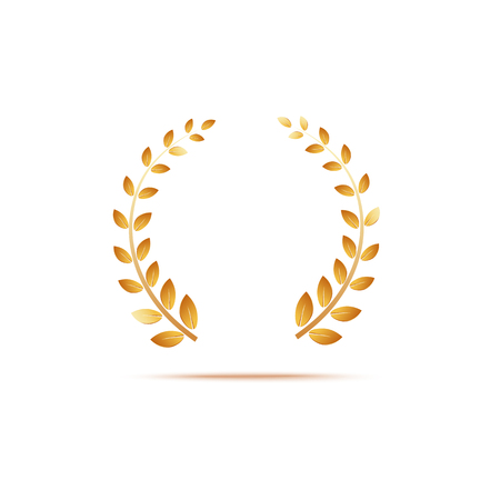 Golden laurel venox leaves, award and insignia of the winner. Realistic 3d gold vector illustration on white background.