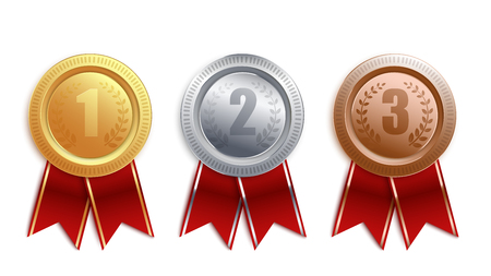 Set of gold, silver, bronze badges with red ribbon. Competition winner award collection for first, second and third place, medal coin 3d design isolated on white background, vector illustration.